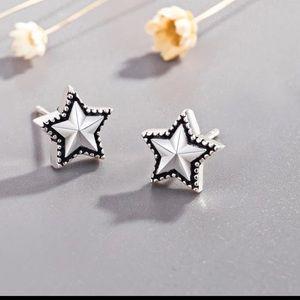 Sterling Silver 925 Star Stud Earrings
